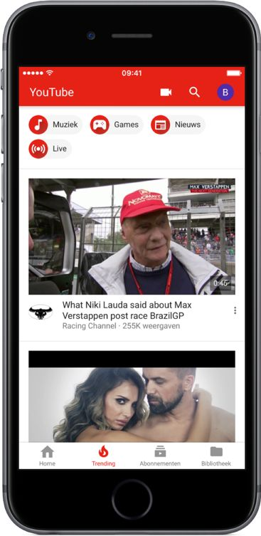 YouTube knoppenbalk nieuw design iOS